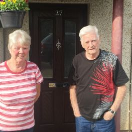 Jane Hendrie, with partner Billy, hs praised WLHP fortheir repsonse to flood in Broxburn last year